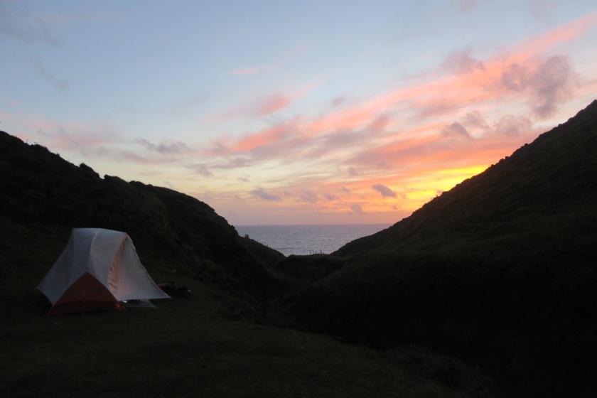 Wild camp at sunset