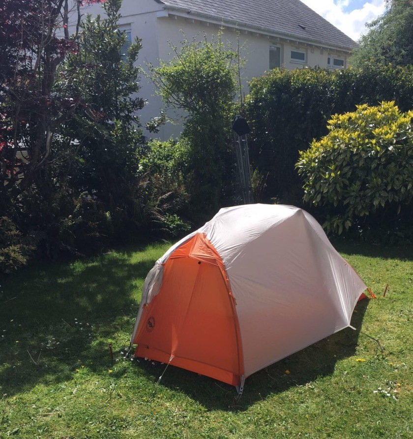 Demo-ing my tent in Emma & Alex's back garden