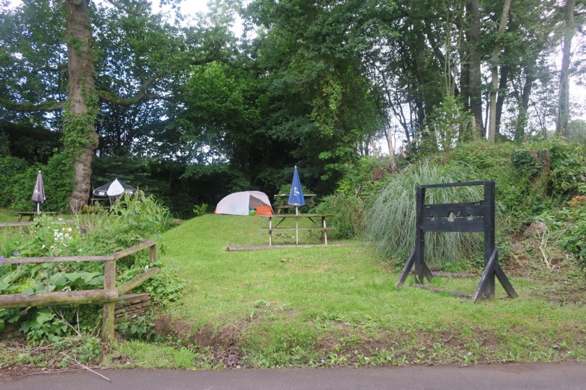 Tent pitched in the pub garden